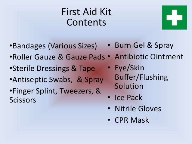 Burn Kit Contents First Aid Kit Contents
