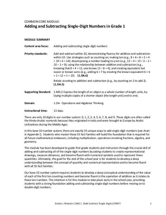 Grade 1 Module 110611 {Add Subtract Single Digits} DRAFT 1 COMMON CORE MODULE: Adding and Subtracting Single-Digit Numbers...