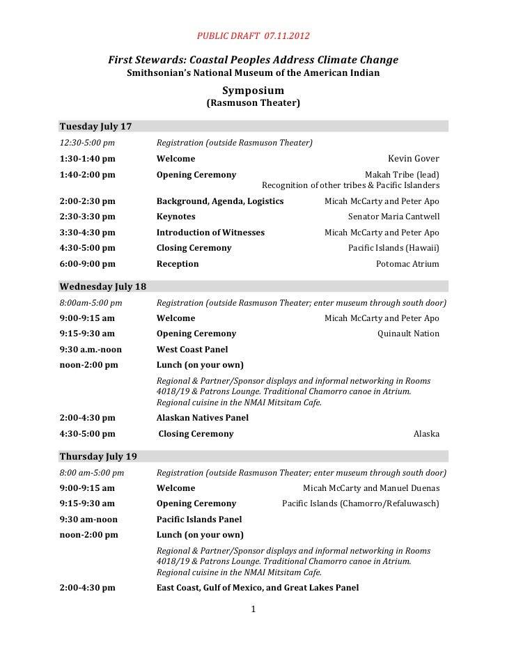 PUBLIC DRAFT 07.11.2012           First Stewards: Coastal Peoples Address Climate Change                  Smithsonian's Na...