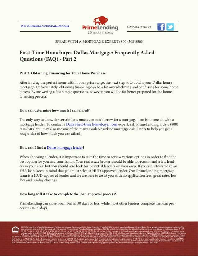 First time homebuyer dallas mortgage - frequently asked questions (faq) - part 2