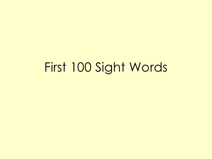 First100 sight words