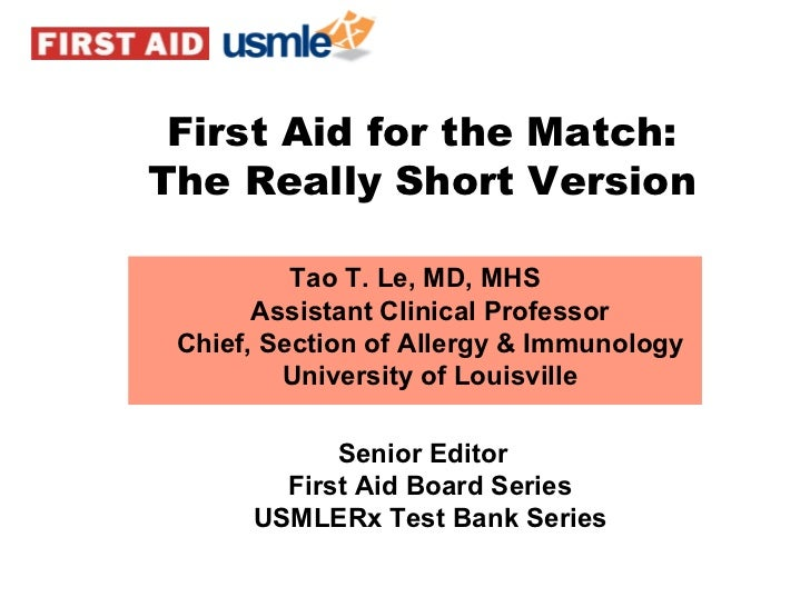 Tao T. Le, MD, MHS Assistant Clinical Professor Chief, Section of Allergy & Immunology University of Louisville Senior Edi...