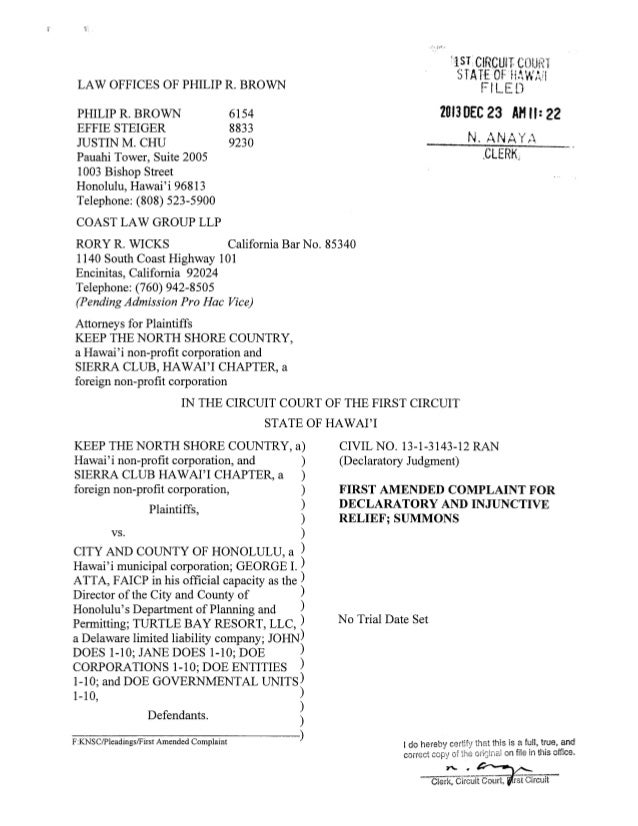 Sierra Club Complaint Against Turtle Bay Resort