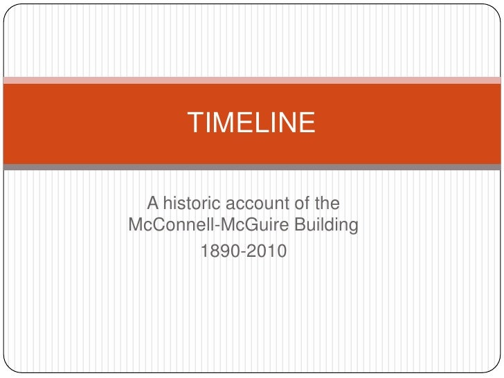 A historic account of the McConnell-McGuire Building<br />1890-2010<br />TIMELINE<br />