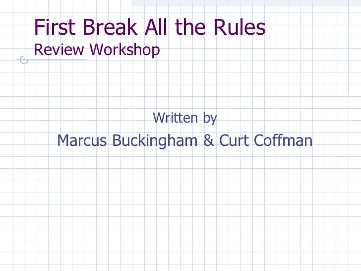first break all the rules pdf