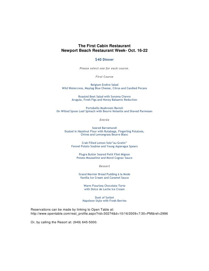 The First Cabin Restaurant                     Newport Beach Restaurant Week- Oct. 16-22                                  ...