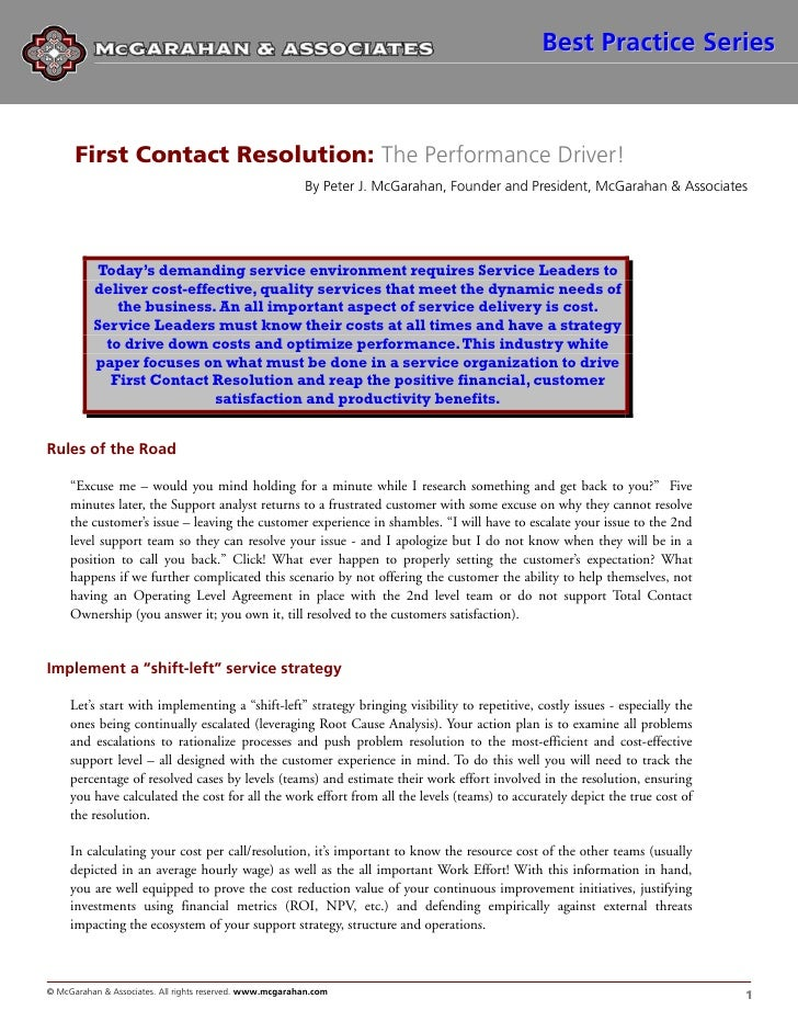 First Contact Resolution The Performance Driver Wp 082009