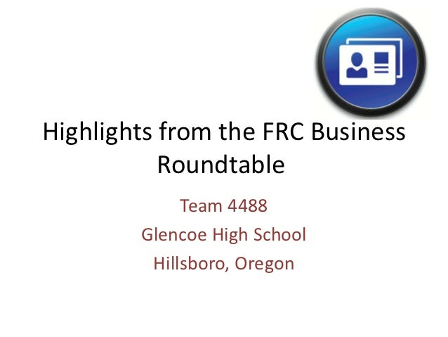 FIRSTFare 2012 FRC Business Roundtable Presentation
