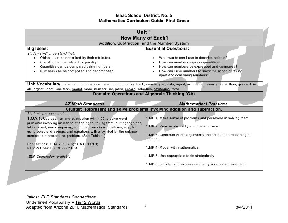 Math First Grade Curriculum Guide 2011