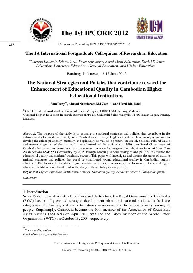 The 1st International Postgraduate Colloquium of Research in Education Colloquium Proceeding © 2012-ISBN 978-602-97573-1-6...