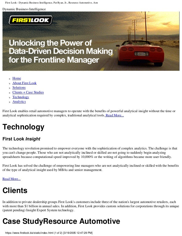 First Look - Dynamic Business Intelligence, Pat Ryan, Jr., Resource Automotive, Aon  Dynamic Business Intelligence        ...