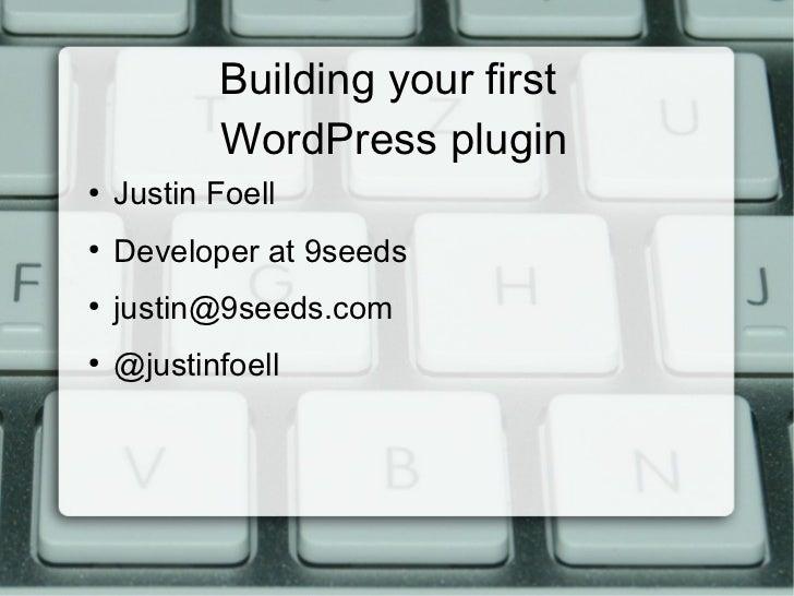 Building your first WordPress plugin