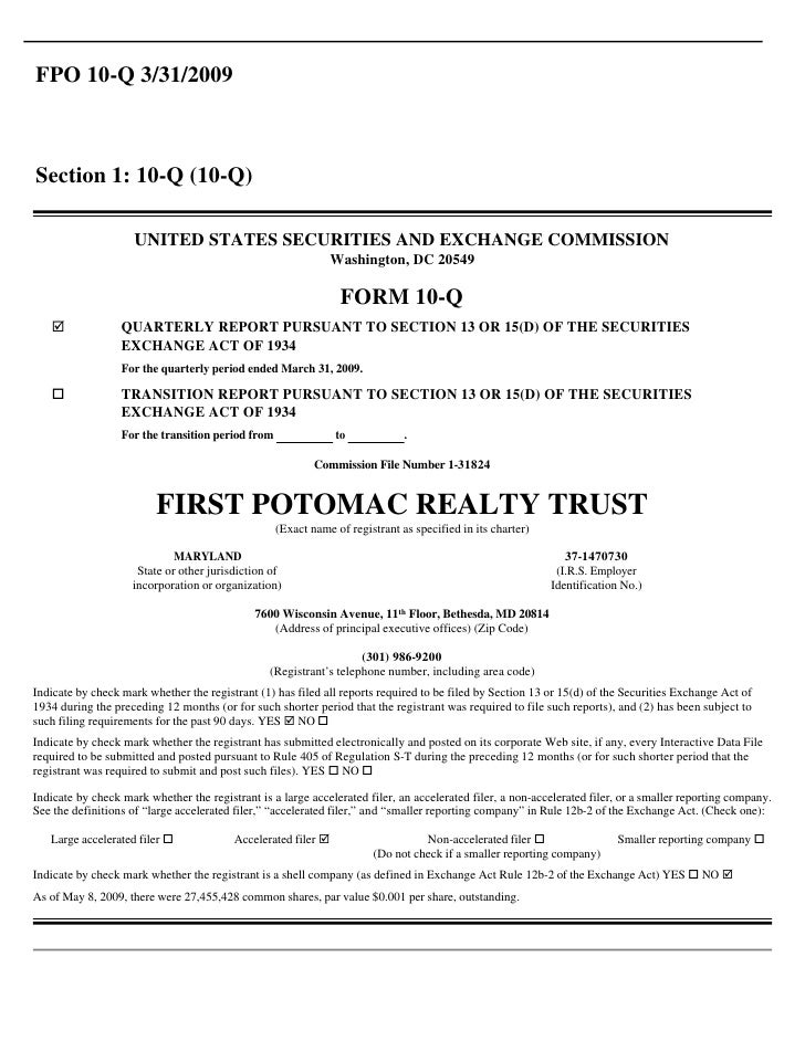 Q1 2009 Earning Report of First Potomac Realty Trust