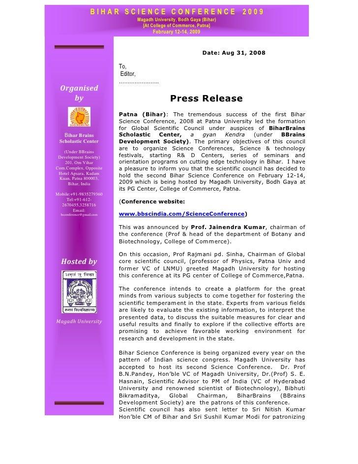 BIHAR SCIENCE CONFERENCE 2009                                  Magadh University, Bodh Gaya (Bihar)                       ...