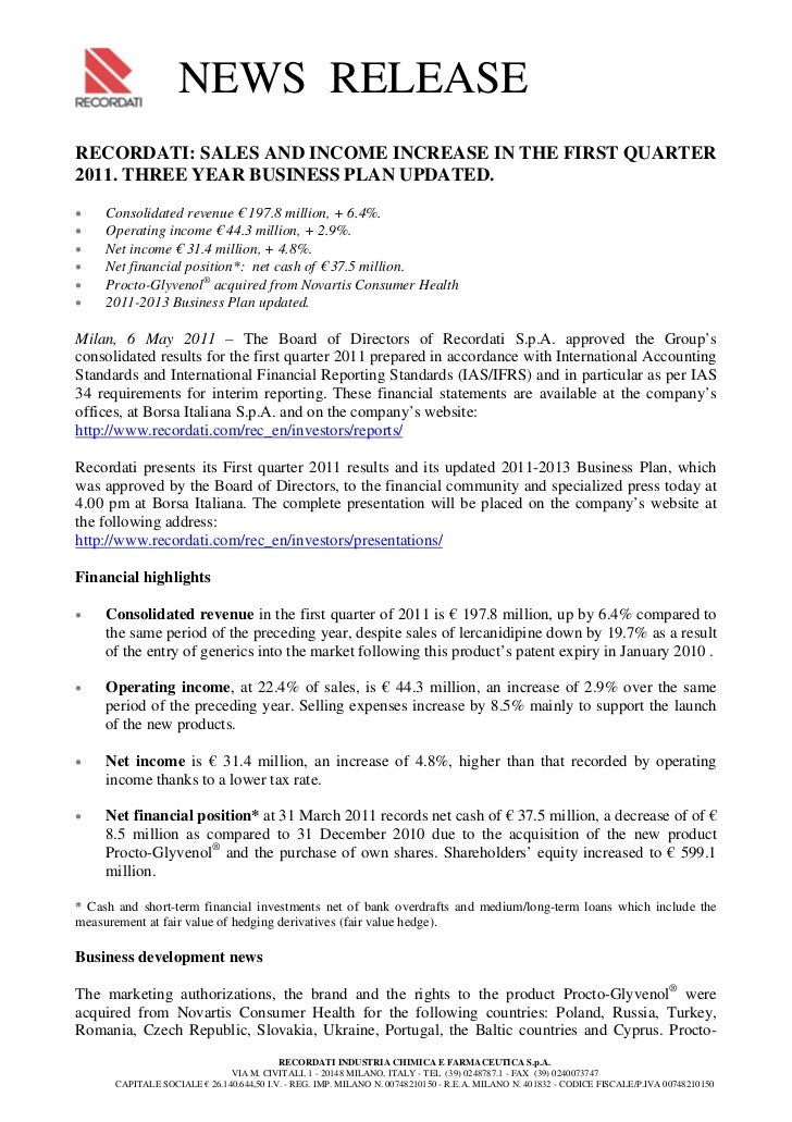 NEWS RELEASERECORDATI: SALES AND INCOME INCREASE IN THE FIRST QUARTER2011. THREE YEAR BUSINESS PLAN UP...