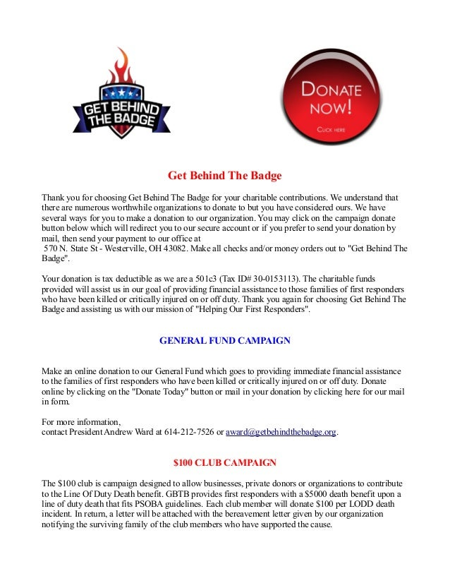 Get Behind The BadgeThank you for choosing Get Behind The Badge for your charitable contributions. We understand thatthere...