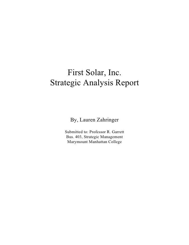 First Solar Inc., Strategic Analysis Report