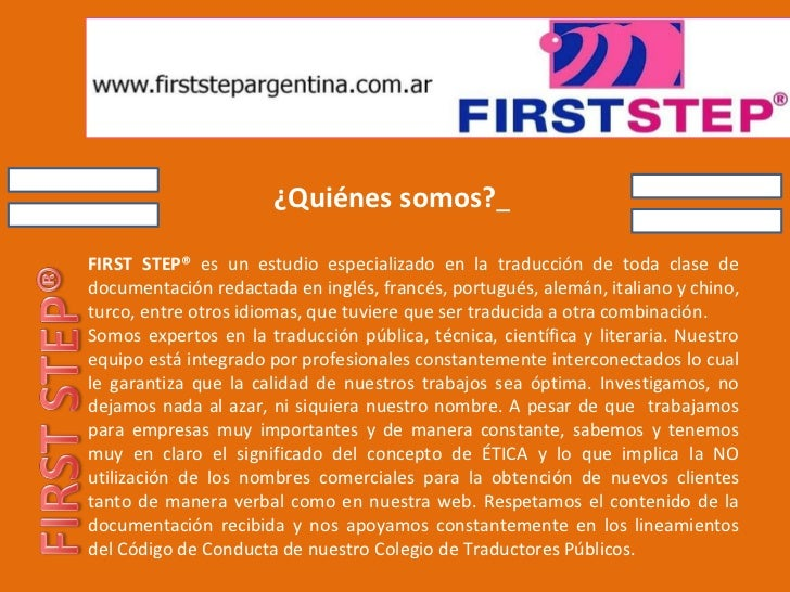 firststepargentina.com.ar servicios de Traducción Interpretación Capacitación