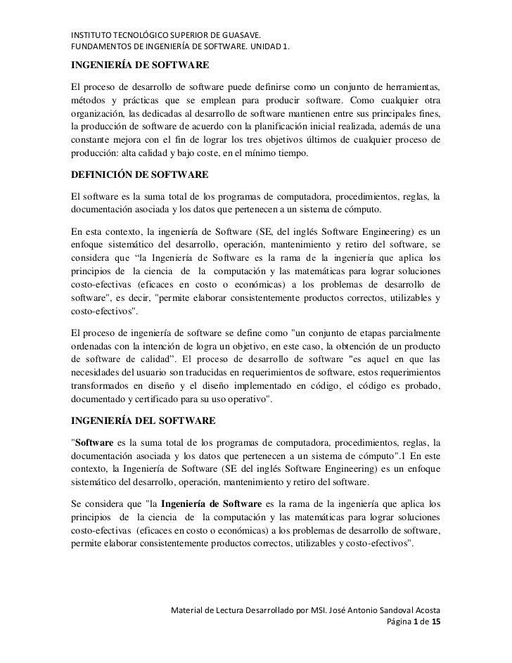 INSTITUTO TECNOLÓGICO SUPERIOR DE GUASAVE.FUNDAMENTOS DE INGENIERÍA DE SOFTWARE. UNIDAD 1.INGENIERÍA DE SOFTWAREEl proceso...