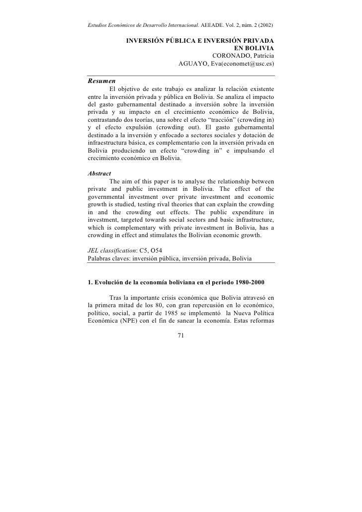 Estudios Económicos de Desarrollo Internacional. AEEADE. Vol. 2, núm. 2 (2002)                INVERSIÓN PÚBLICA E INVERSIÓ...