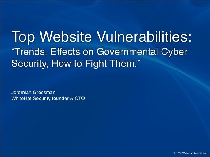 Statistics - Top Website Vulnerabilities