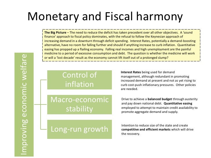 monetary vs fiscal policy Economic policy-makers are said to have two kinds of tools to influence a country's economy: fiscal and monetary fiscal policy relates to government spending and revenue collection for example, when demand is low in the economy, the government can step in and increase its spending to stimulate.