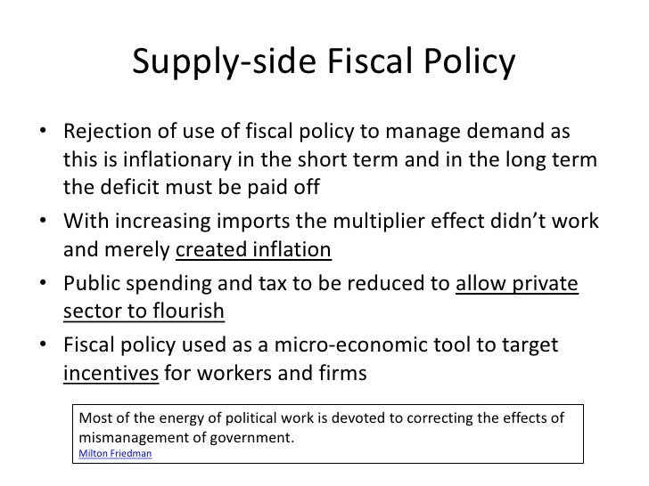 an introduction to the fiscal policy as a supply side tool Inflation - policies to control inflation levels: as  fiscal policy: controlling a cut in income taxes can be considered both a fiscal and a supply-side policy.