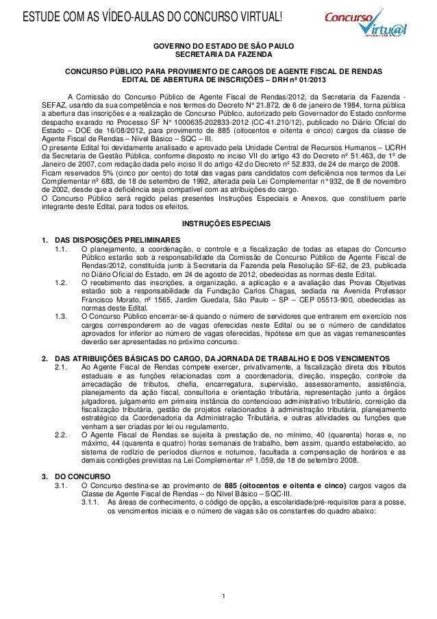 Edital Concurso Agente Fiscal de Rendas do ICMS-SP