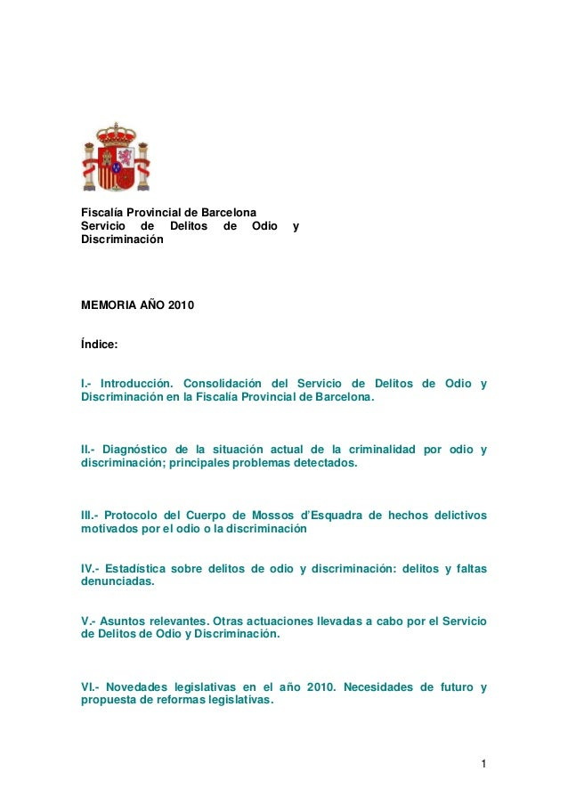 Memoria 2010 Fiscalía Provincial de Barcelona