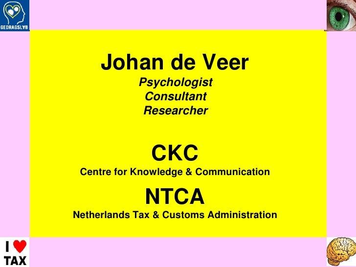 B/CKC Advies - Johan de Veer – 2008<br />Johan de Veer<br />Psychologist<br />Consultant<br />Researcher<br />CKC<br />Cen...
