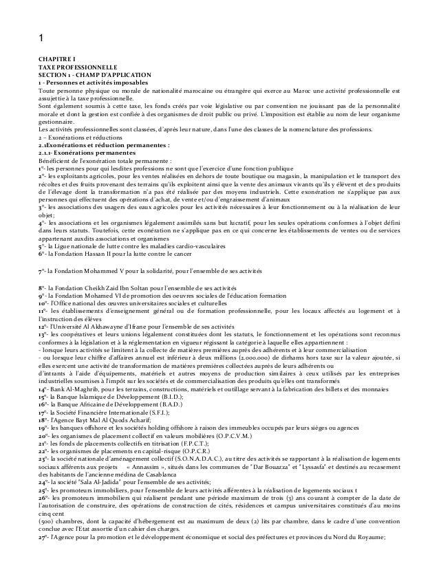 1 CHAPITRE I TAXE PROFESSIONNELLE SECTION 1 - CHAMP D'APPLICATION 1 - Personnes et activités imposables Toute personne phy...