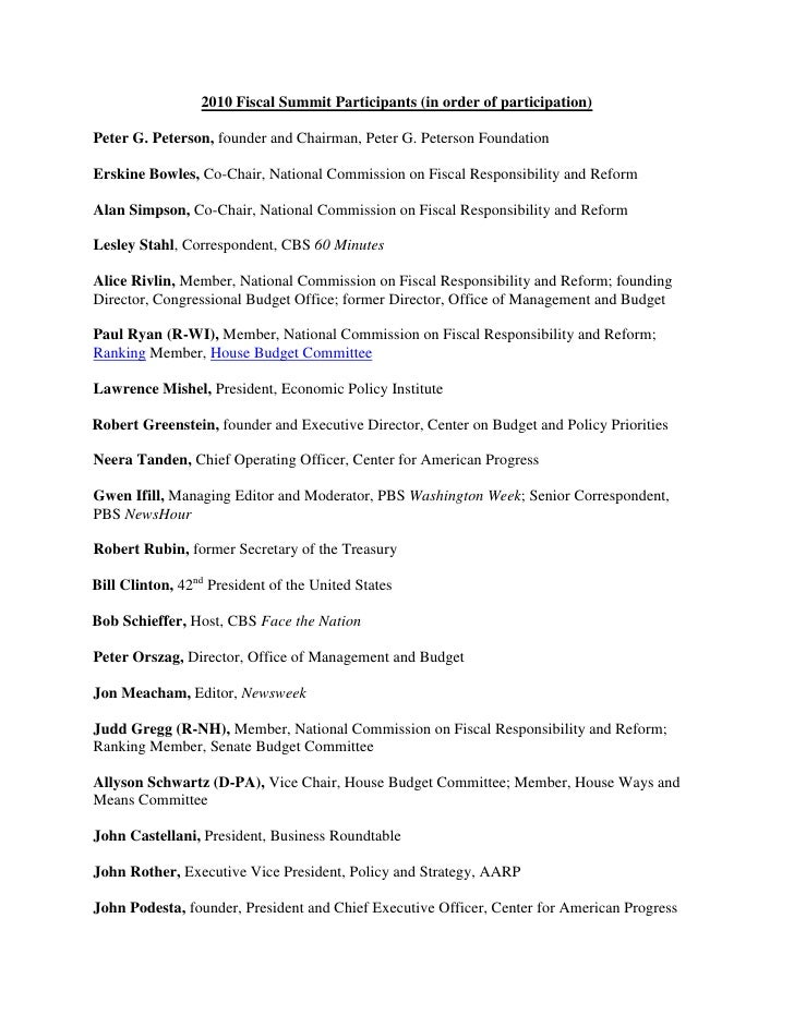 List of 2010 Fiscal Summit Participants