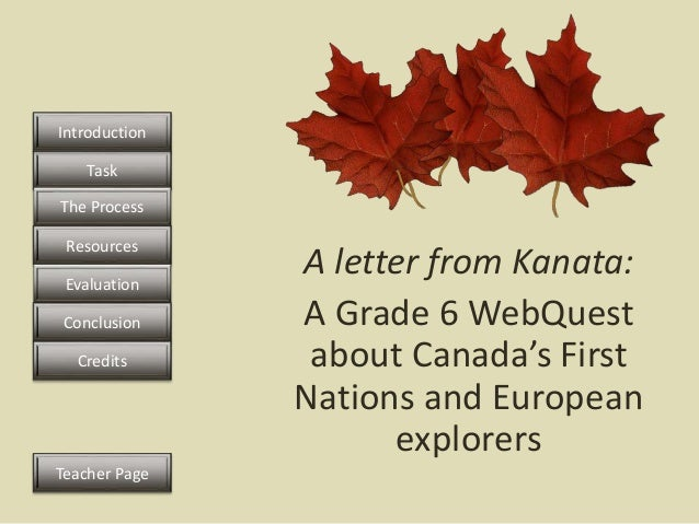 A letter from Kanata: A Grade 6 WebQuest about Canada's First Nations and European explorers Task The Process Resources Ev...