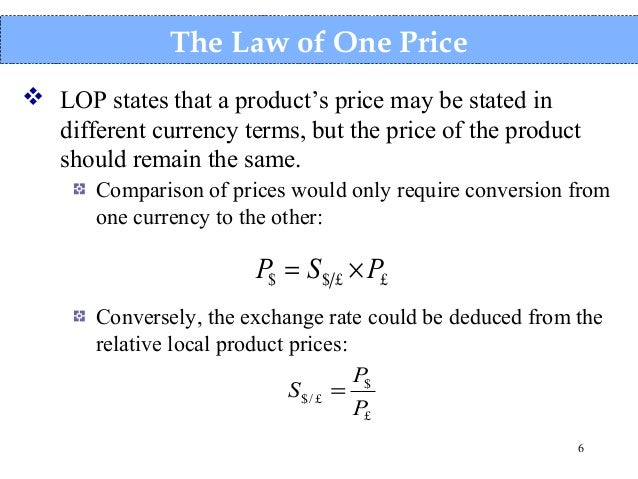 the law of one price in The law of one price states that identical goods should carry identical prices if markets are efficient however, the pricing of emerging-market assets is doing nothing of the kind, suggesting that the law, or the markets, are wrong.