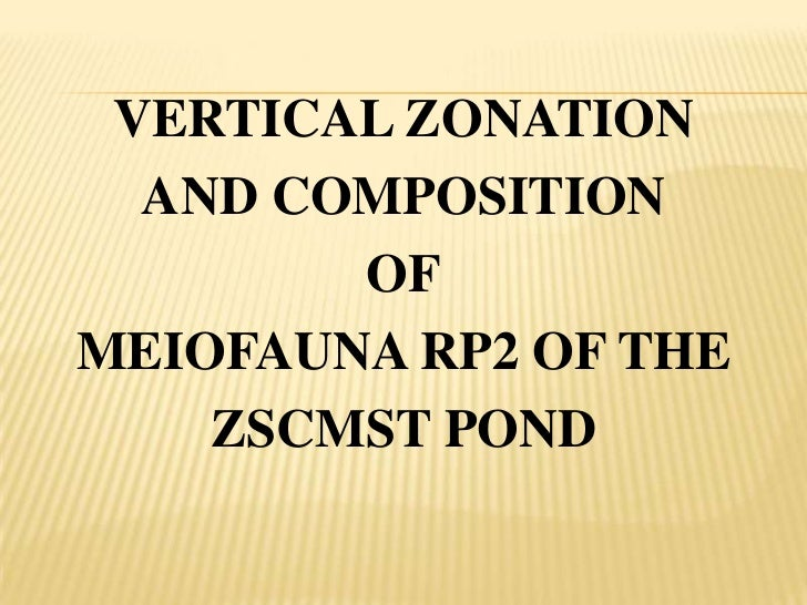 VERTICAL ZONATION  AND COMPOSITION        OFMEIOFAUNA RP2 OF THE    ZSCMST POND