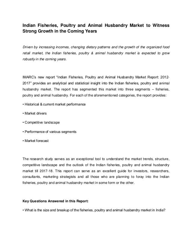 Indian Fisheries, Poultry and Animal Husbandry Market to WitnessStrong Growth in the Coming YearsDriven by increasing inco...