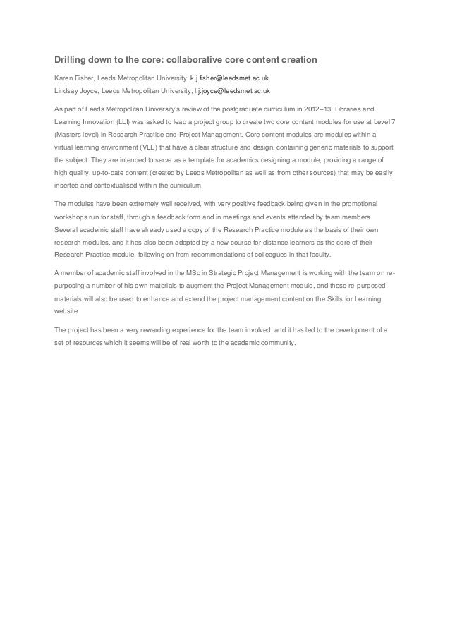 Drilling down to the core: collaborative core content creation Karen Fisher, Leeds Metropolitan University, k.j.fisher@lee...