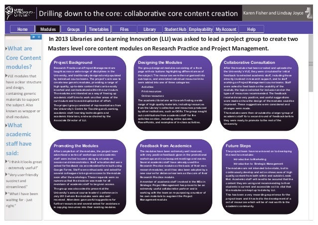 Drilling down to the core: collaborative core content creation In 2013 Libraries and Learning Innovation (LLI) was asked t...