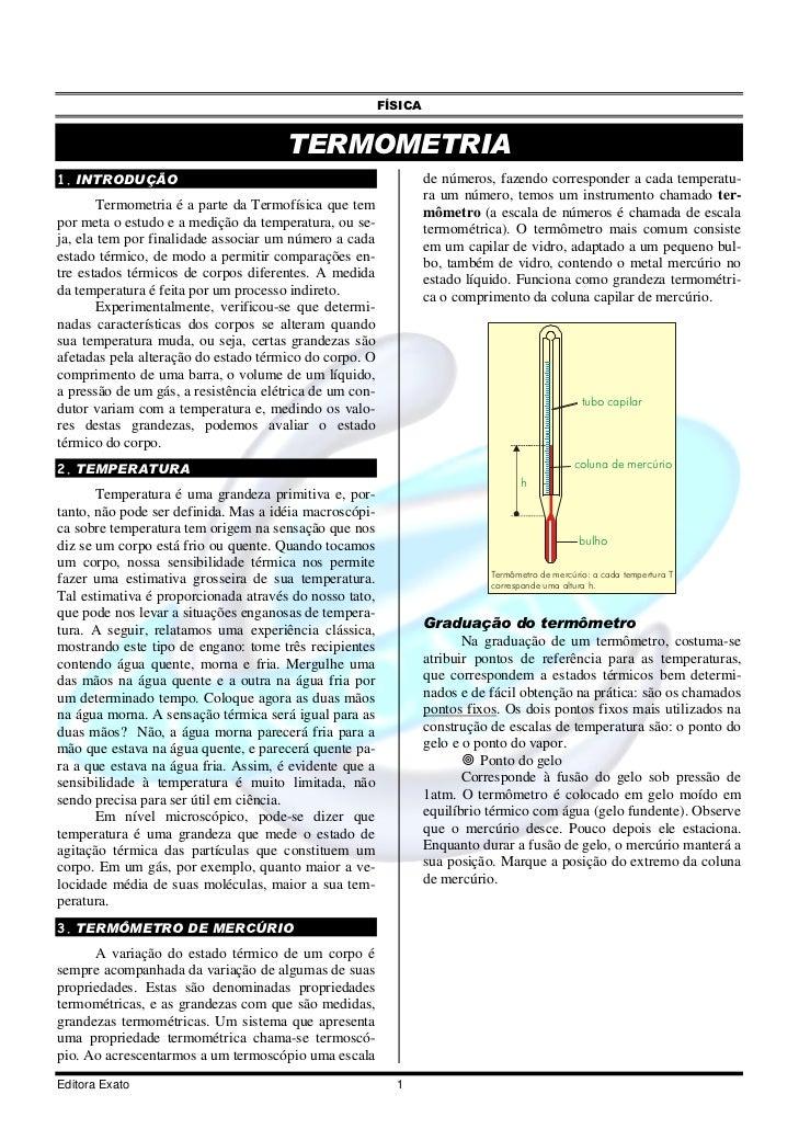 FÍSICA                                       TERMOMETRIA1. INTRODUÇÃO                                                     ...