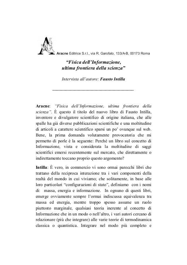"""""""Fisica dell'informazione"""":  Intervista all'autore (di: Aracne editrice)"""