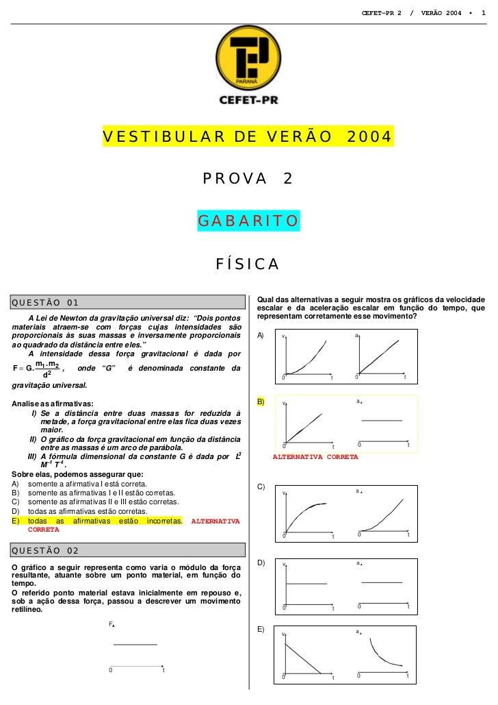 CEFET-PR 2           /   VERÃO 2004 •   1                         VESTIBULAR DE VERÃO                                     ...