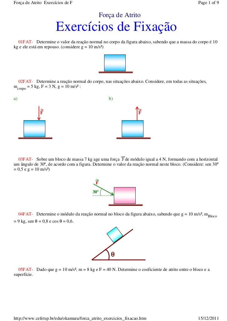 Força de Atrito Exercícios de F                                                                   Page 1 of 9             ...