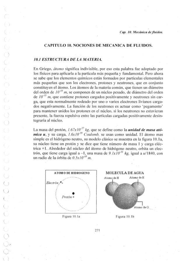 Cap.  l 0. Mecánica de fluidos.   CAPITULO 10. NOCIONES DE MECANICA DE FLUIDOS.   10.1 ESTRUCTURA DE LA MATERIA.   En Grieg...