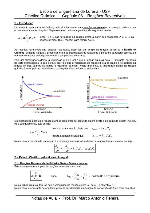 Escola de Engenharia de Lorena - USP         Cinética Química – Capítulo 06 – Reações Reversíveis1 – IntroduçãoUma reação ...