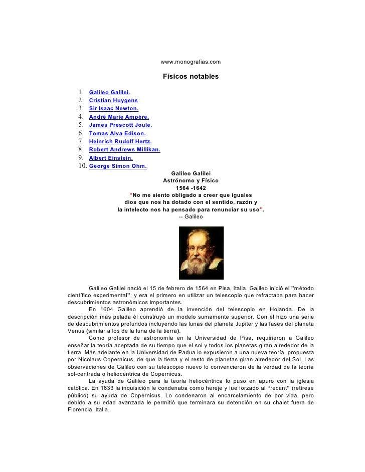 www.monografias.com                                     Físicos notables    1. Galileo Galilei.    2. Cristian Huygens    ...