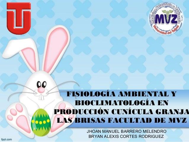 FISIOLOGÍA AMBIENTAL Y BIOCLIMATOLOGÍA EN PRODUCCIÓN CUNÍCULA GRANJA LAS BRISAS FACULTAD DE MVZ JHOAN MANUEL BARRERO MELEN...