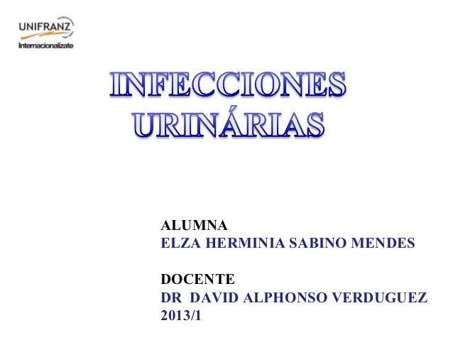 ALUMNA ELZA HERMINIA SABINO MENDES DOCENTE DR DAVID ALPHONSO VERDUGUEZ 2013/1