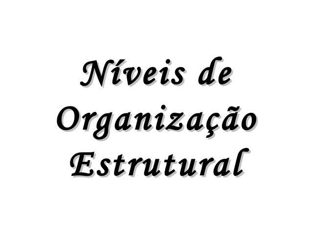 Níveis deNíveis deOrganizaçãoOrganizaçãoEstruturalEstrutural