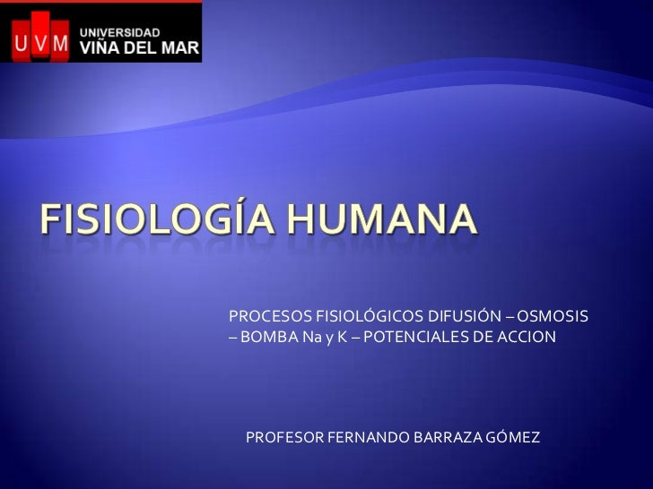 PROCESOS FISIOLÓGICOS DIFUSIÓN – OSMOSIS– BOMBA Na y K – POTENCIALES DE ACCION PROFESOR FERNANDO BARRAZA GÓMEZ