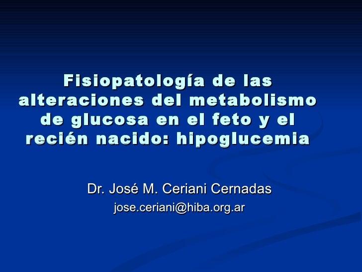 Fisiopatología de las alteraciones del metabolismo de glucosa en el feto y el recién nacido: hipoglucemia Dr. José M. Ceri...